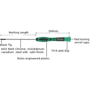 Precision Allen Screwdriver (2,0 x 50 mm) Pro'sKit 1PK-081-H5